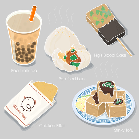 delicious Taiwan snacks collection in flat style