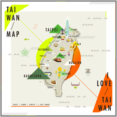 adorable Taiwan travel map with landmarks and famous snacks on it
