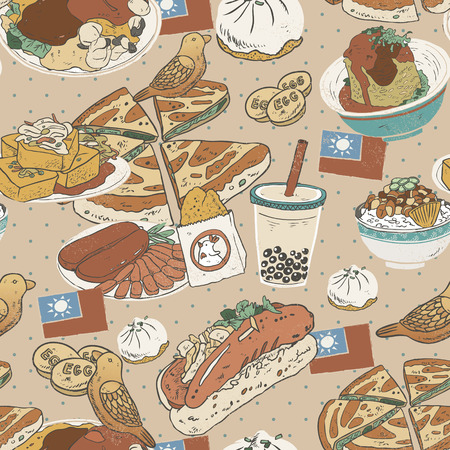 taiwanese: Taiwan delicious snacks seamless pattern in flat style