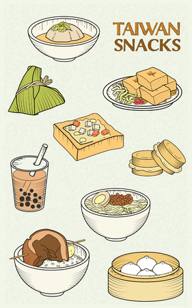 delicious Taiwan snacks collection in flat design style
