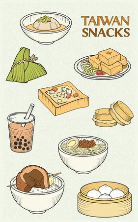 botana: colección de aperitivos deliciosos Taiwán en el estilo de diseño plano