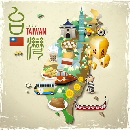 asia food: lovely Taiwan landmarks and snacks map in flat style