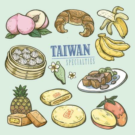 exquise Taiwan specialiteiten collectie in de hand getekende stijl