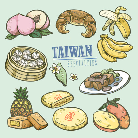 speciality: exquisite Taiwan specialties collection in hand drawn style