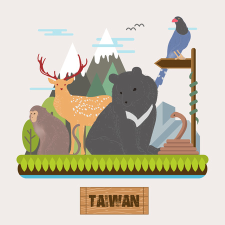 adorable Taiwan endemic species collection in flat style