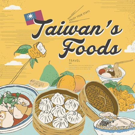botanas: colección de aperitivos deliciosos Taiwán en el estilo de diseño plano