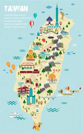 encantador: adorável Taiwan mapa de viagem em estilo design plano