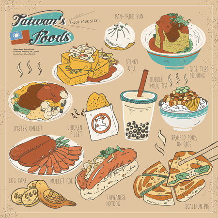 Taiwan delicious snacks collection set in flat style
