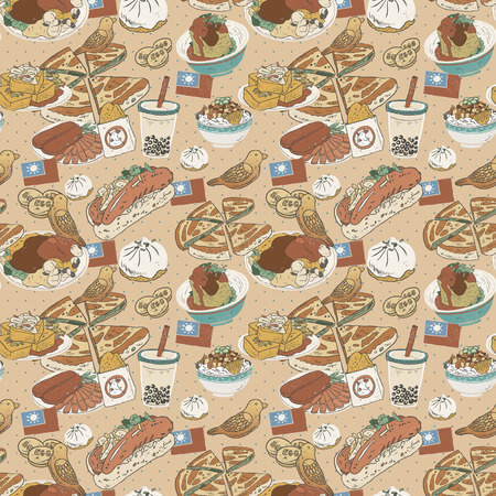 food illustration: Taiwan delicious snacks seamless pattern in flat style