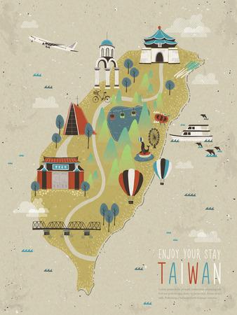 turismo: atracciones adorables Taiwán mapa con estilo plana
