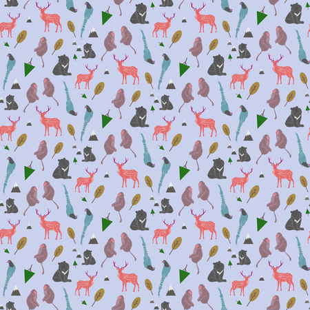 adorable Taiwan endemic species seamless background in flat style