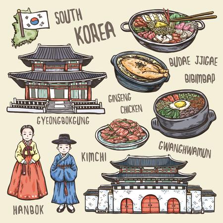 絶妙な手描きのスタイルで韓国のカラフルな旅行の概念