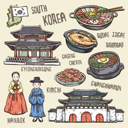 colorful travel concept of south Korea in exquisite hand drawn style Vettoriali