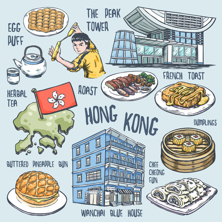hong kong city: colorful travel concept of Hong Kong in exquisite hand drawn style