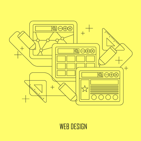 klik: web design concept in flat dunne lijn stijl Stock Illustratie