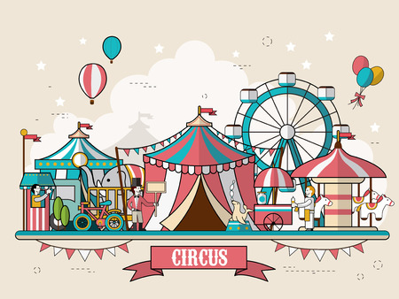 clown cirque: cirque installations paysages dans un style design plat Illustration