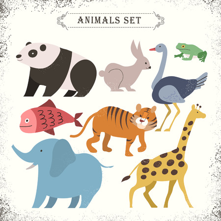 zoo: adorable animals set in flat design style Illustration