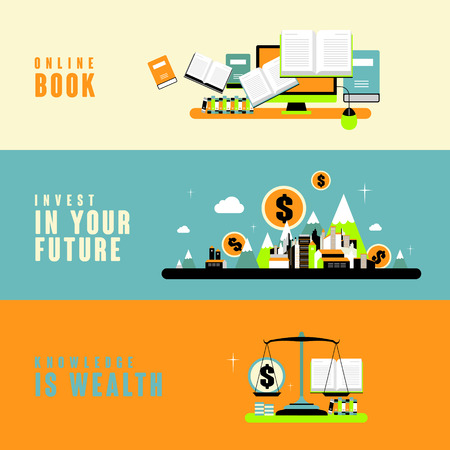 style wealth: knowledge is wealth concept in flat design style