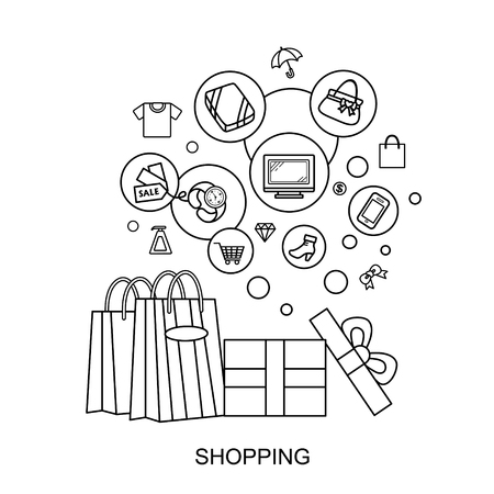 shopping concept: products and shopping bag in flat line style