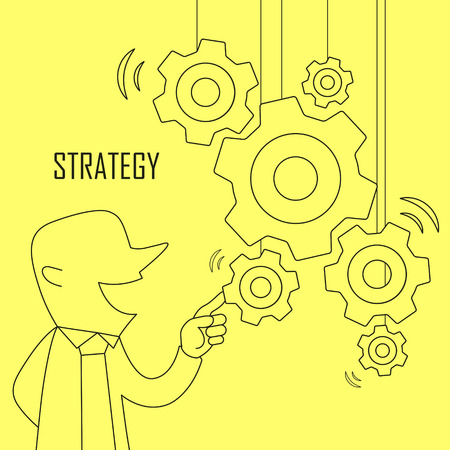manual: strategy concept: businessman pointing at gears in line style