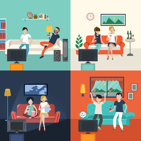 young woman sitting: friends watching TV program in the living room in flat design