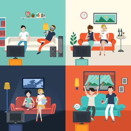 vrienden kijken tv-programma in de woonkamer in plat design Stock Illustratie