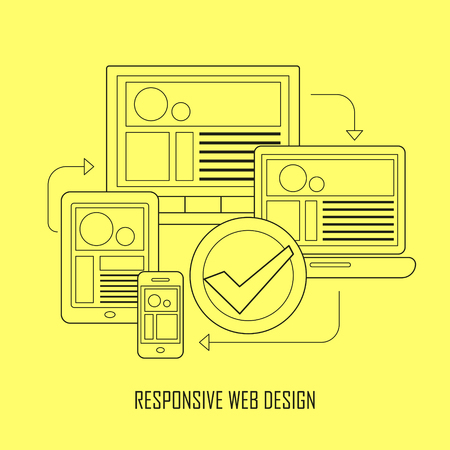 display size: fully responsive user interface on any device in thin line style