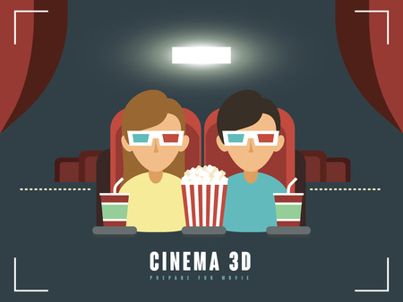 flat screen: 3d cinema concept in flat design style