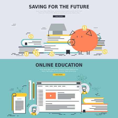 saving: online education and saving for the future concepts in flat design