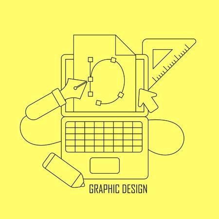 graphic design: graphic design tools in thin line style Illustration