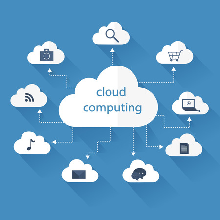 cloud computing concept in flat design style Çizim
