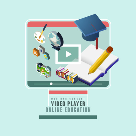 online education: 3d isometric flat design of online education