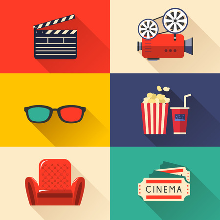cinema ticket: modern cinema icons set in flat design style
