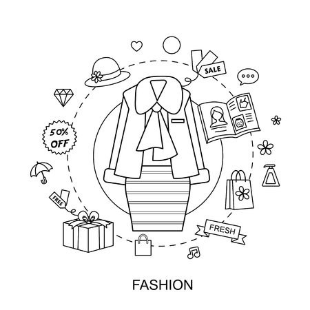 online business: fashion concept: female dress with modern elements in flat line style Illustration