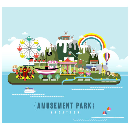 フラットなデザイン スタイルの遊園地風景