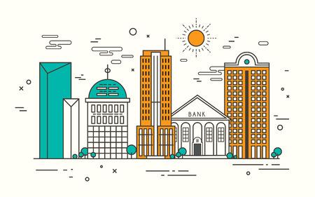 modern street scenery in flat design style Ilustrace