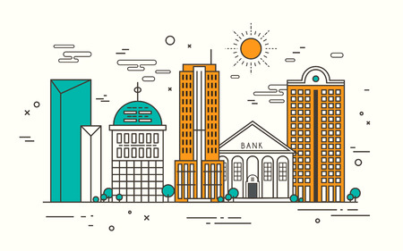 modern street scenery in flat design style Illustration