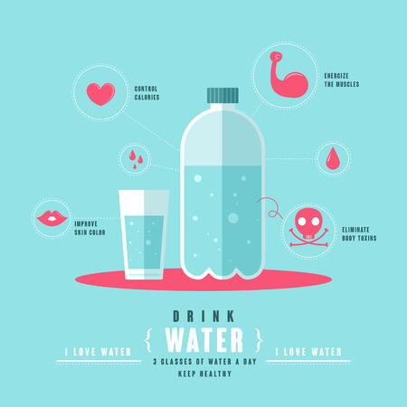 healthy concept of drinking water in flat design Çizim