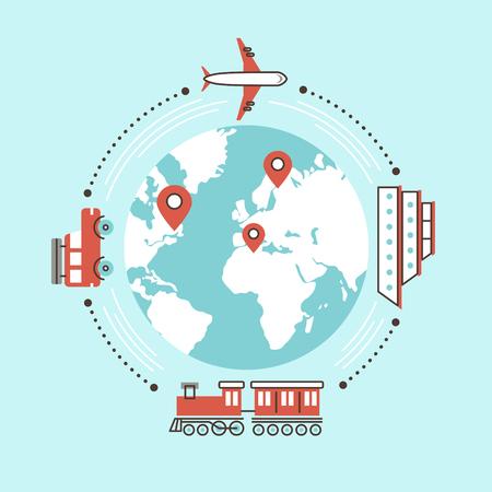 tren: viajar por todo el mundo por el transporte diferente en dise�o plano