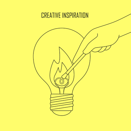 kindle: creative inspiration concept: a hand lighting up a big bulb in line style