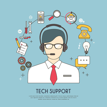 tech support concept in flat design style