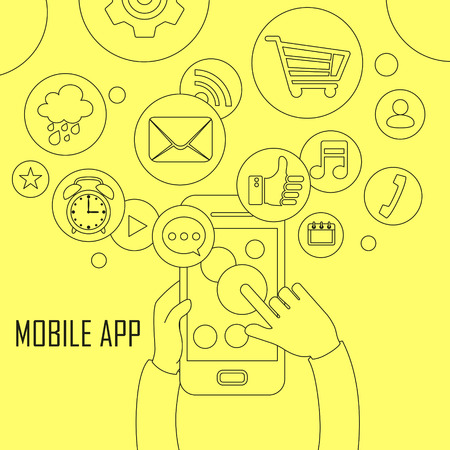 mobile apps: mobile apps concept: apps flying out from mobile phone in thin line style