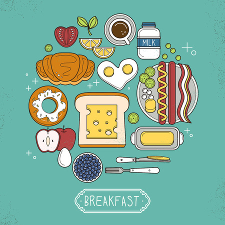 butter: top view of nutritious breakfast set in flat design Illustration