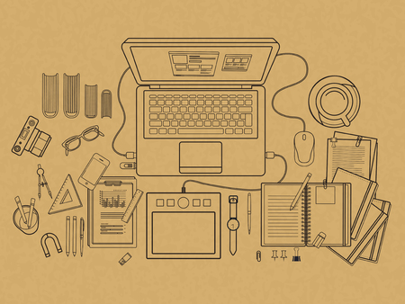 working place: top view of working place in flat line design