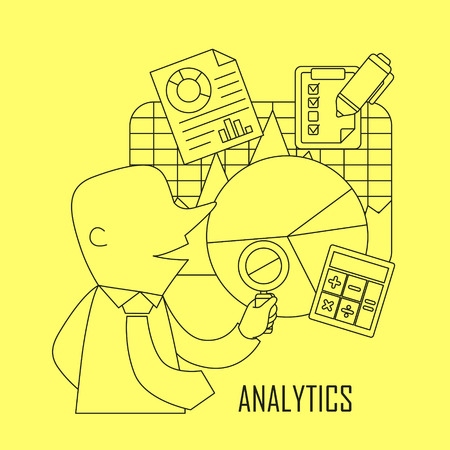 analytic: analytic concept: businessman checking data and chart in line style