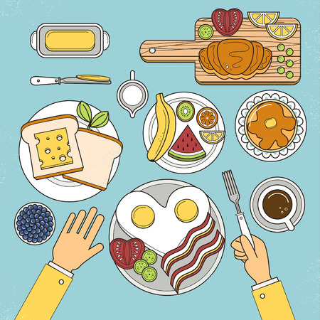 bread and butter: top view of nutritious breakfast set in flat design Illustration