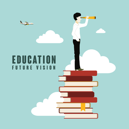 education future vision in flat design style