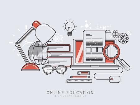 Concepto de educación en línea en la delgada línea de estilo diseño plano Foto de archivo - 45530707