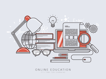 online education: online education concept in thin line flat design style Illustration