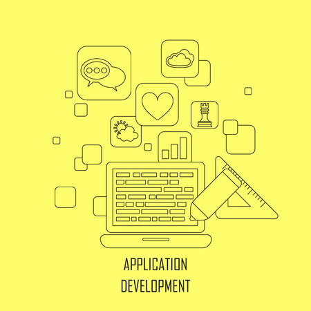 prototyping: application development concept in flat thin line style Illustration